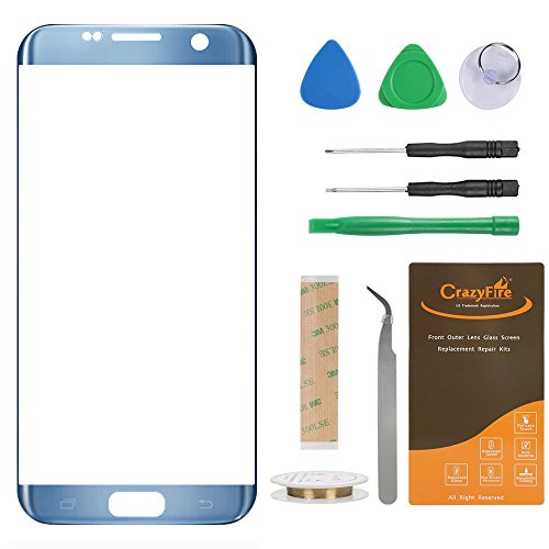 CrazyFire Compatible with Samsung Galaxy S7 edge Blue Replacement Front Outer Lens Glass Screen,Front Outer Lens Glass Screen Replacement for S7 edge G935V G935P G935F G935T G935A G935L G935K G935S