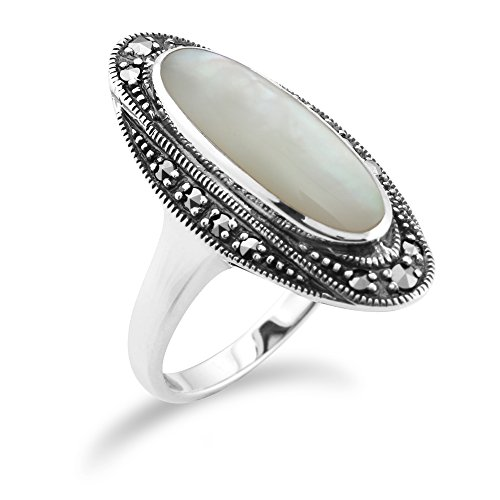Art Deco Marcasite Ring - Sterling Silver Art Deco 1.3ct Shell Mother of Pearl & Marcasite Ring