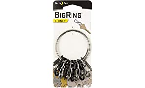"Nite Ize BigRing Steel, 2"" Stainless-Steel keychain Ring With 8 Stainless-Steel Key-Holding S-Biners"