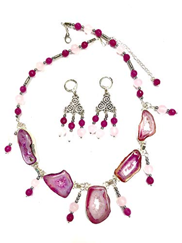 PINK DRUZY, LT AND DARK PINK AGATE IN STERLING SILVER JEWELRY SET HANDMADE