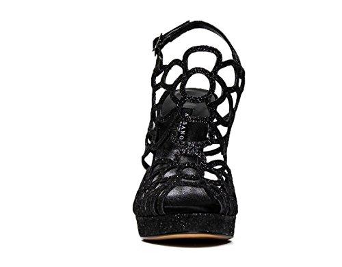 Elegante sandalia de tacón alto Albano 7206 BRILLO NEGRO