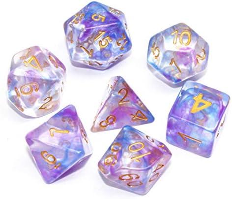 Juego de Dados de poliédrica HD Dice DND púrpura Azul RPG Dados para Mazmorras y Dragones (D&D) Juego de rol MTG Pathfinder Juego de Mesa Transparente 7 Dados Set: Amazon.es: Juguetes y