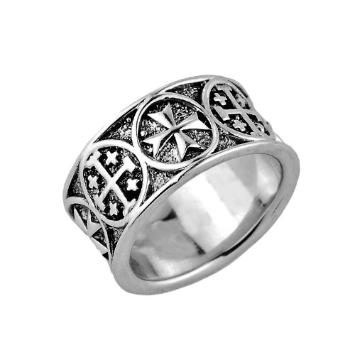 Gothic Cross Band - Modern Contemporary Rings 925 Sterling Silver Alternating Gothic and Jerusalem Cross Band Ring for Men (Size 12.25)