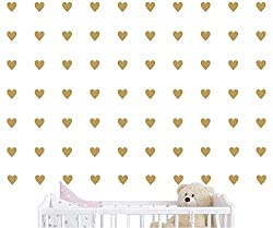 JOYRESIDE 2 inch x100 Pieces DIY Heart Wall Decal Vinyl Sticker Baby Kids Children Boy Girl Bedroom Decor Removable Nursery Decoration