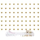 100 Pieces DIY Heart Wall Decal Vinyl Sticker For Baby Kids Children Boy Girl Bedroom Decor Removable Nursery Decoration (Matte Gold)