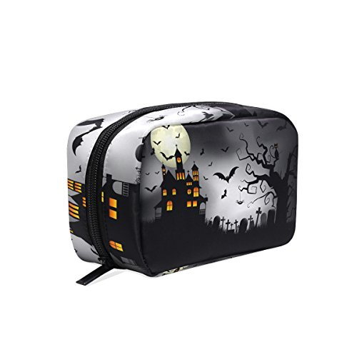 LORVIES Spooky Halloween Background Cosmetic Pouch Clutch Makeup Bag Travel Organizer Case Toiletry Pouch for Women