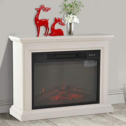Clever Market Fireplace Electric Classic Freestanding Elegant Wood Heater Full Frame Family Stove Compact Heater 3D Flame 1400W White