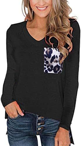Womens Fashion Casual Leopard Pocket Tops Long Sleeves V Neck T Shirt Casual Basic Tees Cute Shirts Tank Tunic