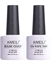 AIMEILI Soak Off UV Gel Polish Base Coat and No Wipe Top Coat Set Upgraded Formula Long Lasting Mirror Finish Gel Polish 2x8ml