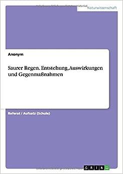 Book Saurer Regen. Entstehung, Auswirkungen und Gegenmaßnahmen