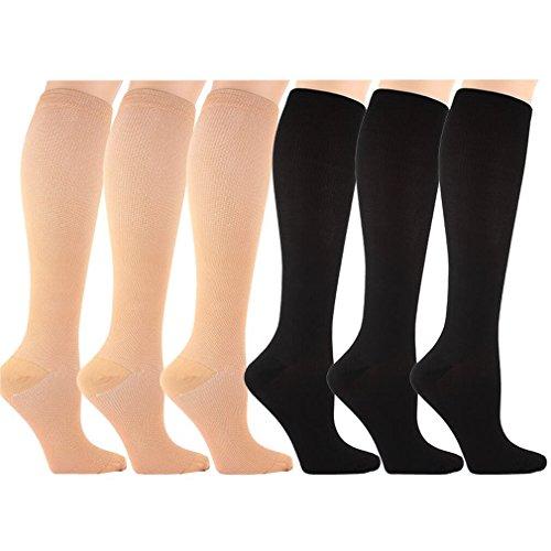 6 Pares Rodilla Alta Medias / Calcetines de Compresión para Hombres y Mujeres - Calcetines de Soporte para...