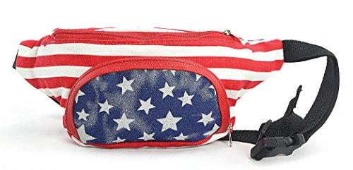Funky Junque Festival Fanny Pack Waist Bag July 4th Belt Purse, American Flag (USA)