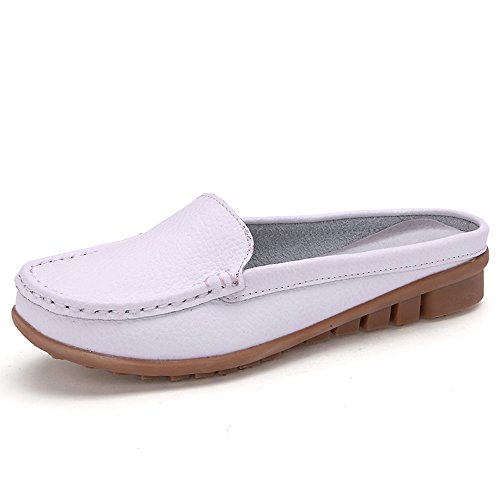 U.Buy Women's Backless Slip-On Loafer Mules Flat Leather Shoes White 0Zv5z3YM4f