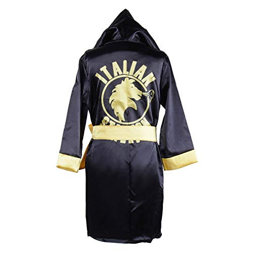 Children Costume Classic Movie Clothes Apollo American Flag Boxing Robe Hooded Shorts Kids Italian Stallion Suits (Black, S) ()
