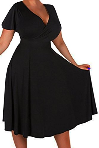 Funfash Plus Size Women Black Slimming Cocktail Bridesmaid Dress Made In USA