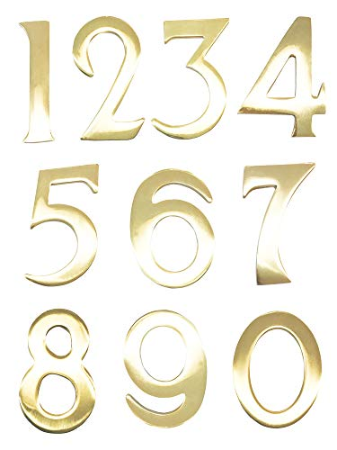 Addresses of Distinction 6 Customized 3-Inch Brass Mailbox Numbers – Pick Your Numbers - Self Adhesive – Williamsburg Font – Won't Tarnish – Numbering for Address ()