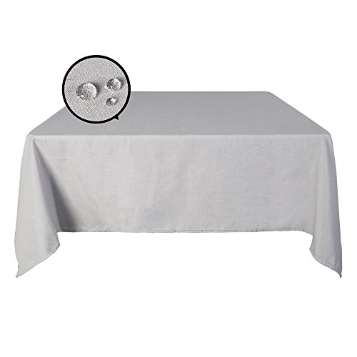 (SUO AI TEXTILE Decorative Oblong Linen Tablecloth Antique Design Spill Proof Tablecloths for Kitchen 60x102 inch Smoky)