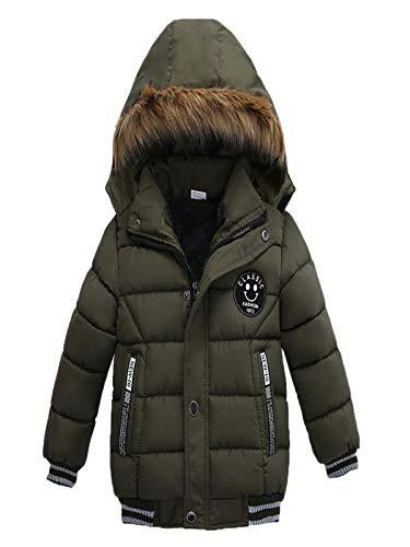iYBUIA Unisex Fashion Kids Letter Print Coat Boys Girls Thick Coat Padded Winter Jacket Clothes(Green,110)