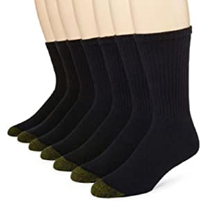 Gold Toe Men's Classic 6-pair Crew Athletic Socks + 1 Extra Pair (10-13, black)