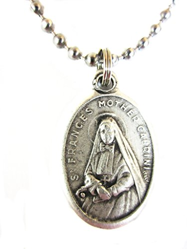 VP&P Silver Tone St Frances Mother Cabrini Medal Pendant Necklace 24