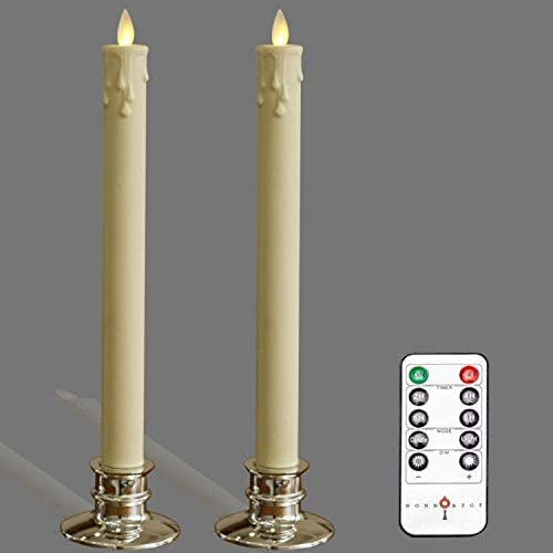 Set of 2 -3D Moving Wick Flameless Candles ,with Candlesticks.LED Flameless Taper Candles