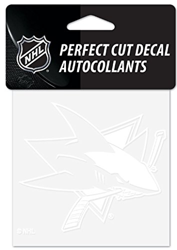 (WinCraft NHL San Jose Sharks 4x4 Perfect Cut White Decal, One Size, Team Color)
