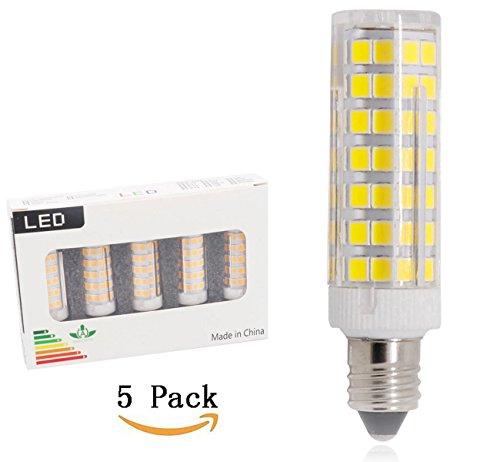b, JD E11 Mini Candelabra Base Bulbs, 120V T4 JD White bulbs 5-Pack (6W-White color) ()