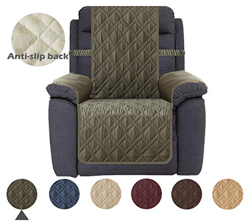 Ameritex Waterproof Nonslip Sofa Cover for Leather, Dog Couch Chair Cover Furniture Protector, Ideal Sofa Slipcovers for Pets and Kids, Stay in Place (Pattern1:Green, Recliner) ()
