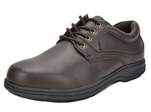 DREAM PAIRS Men's Shack-1 Dark Brown Oil Resistant Restaurant Oxfords Work Shoes - 14 M - Brown Dark Oil