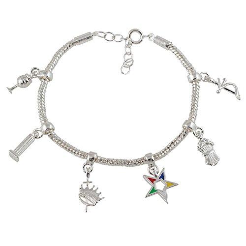 Order of the Eastern Star Heroine Emblem Charm Bracelet (Adjustable - Silver Toned)