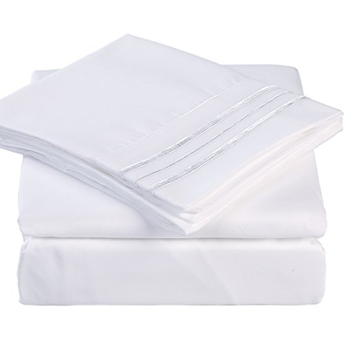 California King 4 Piece Bed Sheet Set 1800 Bedding 100% Microfiber Polyester,Extra Deep Pocket,Breathable,Warm,Hypoallergenic,Soft, Comfortable,Durable,Include 1 Flat,1 Fitted, 2 Pillowcases White