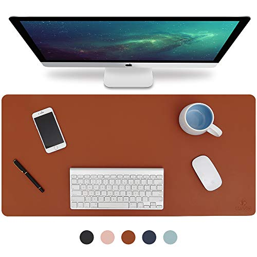 Knodel Desk Pad, Office Desk Mat, 31.5 x 15.7 PU Leather Desk Blotter, Laptop Desk Mat, Waterproof Desk Writing Pad for Office and Home, Dual-Sided (Brown/Gray)