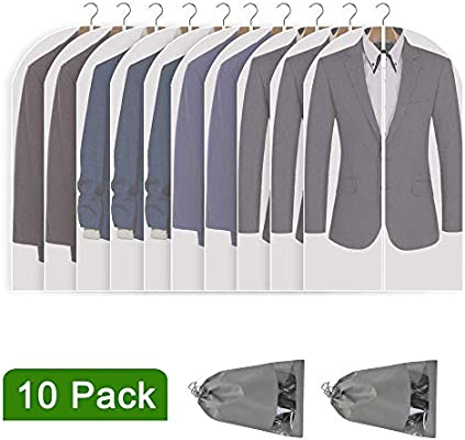 Hanging Full Zipper Suit Garment Bags Clear PEVA Moth-Proof Dust Cover Storage