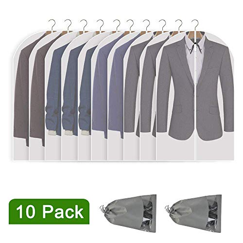 Perber Hanging Garment Bag Lightweight Clear Full Zipper Suit Bags (Set of 10) PEVA Moth-Proof Breathable Dust Cover for Closet Clothes Storage -24'' x 40''/10 Pack (Closet Garment Bag)