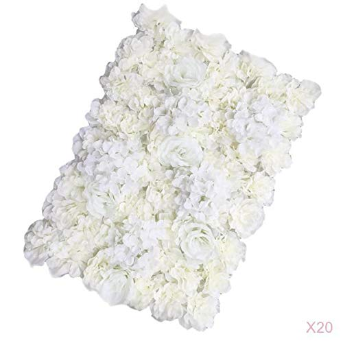 Prettyia Pack of 20 Artificial Silk Rose Hydrangea Flower Wall Panels Cream 40x60cm