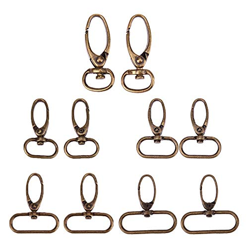Bag Buckle - 20pcs Lobster Clasps Retro Style Antique Bronze Finish Bag Buckle Hooks Finding Diy Necklace - Replacement Metal Clip Clasp Kit