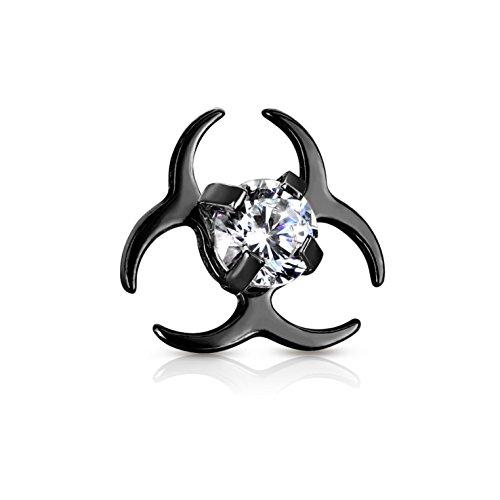 BYB Jewelry CZ Center Biohazard Symbol Surgical Steel Dermal Anchor Top (Black IP Steel) -