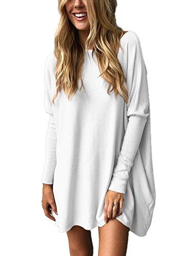 Minetom Donna Sweatshirt Camicia Maniche Inverno Miniabito Pullover Casuale Vestito Bianca Lunghe Maglione Jumper Autunno Moda Lunga rrxqwvS