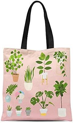 Semtomn Bolso de lona para hombro con diseño de manzanas amarillas y frutas, acuarelas sobre hojas blancas y rojas y verdes, bolso de mano para mujer: Amazon.es: Hogar