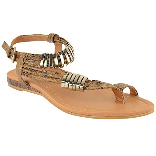 Fashion Thirsty Womens Flat Summer Dress Sandals Ankle Strappy Flip Flops Size 9