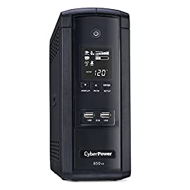CyberPower BRG1500AVRLCD UPS Outlets AVR LCD USB Ports Mini Tower 31 1000VA/600W Intelligent LCD Battery Backup Uninterruptible Power Supply (UPS) System 10 NEMA 5-15R OUTLETS: (5) Battery Backup & Surge Protected Outlets, (5) Surge Protected Outlets safeguard desktop computers, workstations, networking devices and home entertainment equipment. The UPS also includes 2 USB charge ports (2.1 Amp shared) to power portable devices MULTIFUNCTION LCD PANEL: Displays immediate, detailed information on battery and power conditions, including: estimated runtime, battery capacity, load capacity, etc.