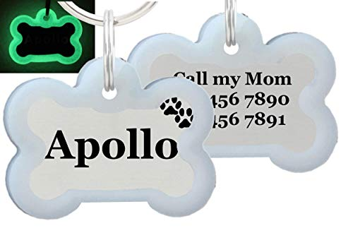 io tags Double Sided Laser Etched Stainless Steel Pet ID Tag for Dog Engraved and Personalized Bone Shape (Paws with Silencer) (Pet Paw Id Tag)