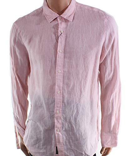- Michael Kors Mens Large Classic Fit Long-Sleeve Shirt Pink L