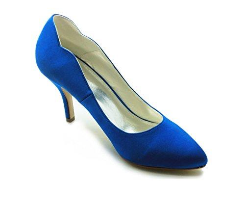 Evening Bridal Minitoo Closed 8cm High Party Pumps Heel Shoes Wedding Womens Blue Heel Satin GYAYL408 Stiletto Toe qwqH8Fvc