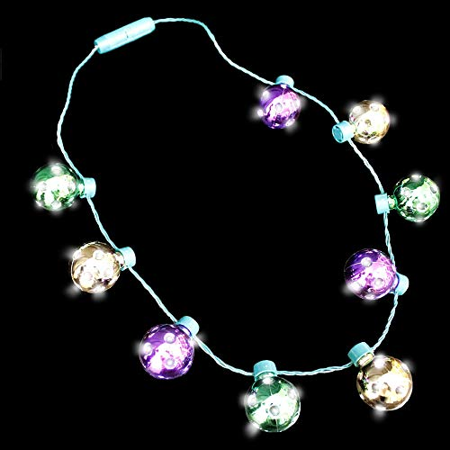 Light Up Mardi Gras Throws (Fun Central LED Light Up Mardi Gras Disco Ball Necklace for Kids and Adult - Purple Green)