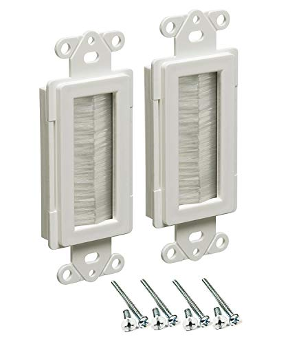 iMBAPrice CED135-2 Cable Entry Device with Brush-Style Opening, 1-Gang, White, 2-Pack ()