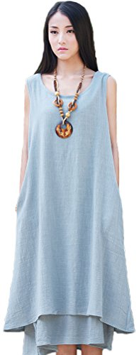 (Soojun Women's Essential Double-Layer Sleeveless Linen A-Line Dresses, Style 2 Blue, Small)