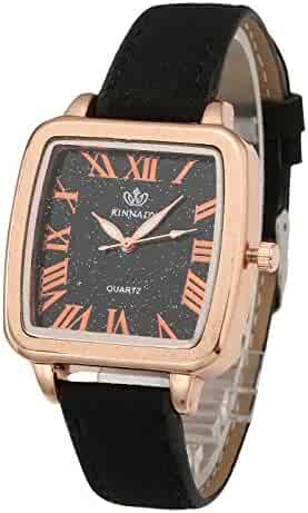 73a12f5e743 Top Plaza Women Watches Black Leather Band Luxury Rose Gold Square Case  Analog Quartz Dress Watches