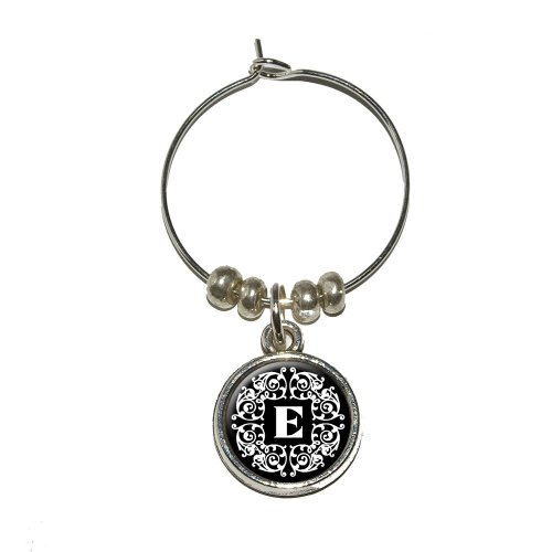 - Letter E Initial Black and White Scrolls Wine Glass Charm Drink Stem Marker Ring