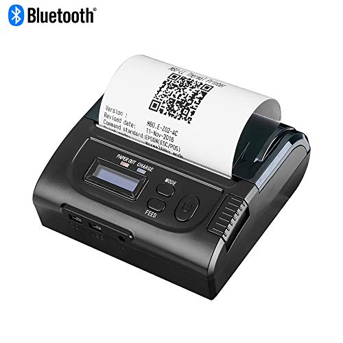 MUNBYN Wireless 80MM Bluetooth Thermal Receipt Printer, Mobile Android Printer Impresora térmica with LED Indicator, Support ESC/POS/Star Command (Brother Printer Pos)